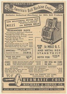 1948 Mills Bell Slot Machine Automatic Coin Machines & Supply Co Print