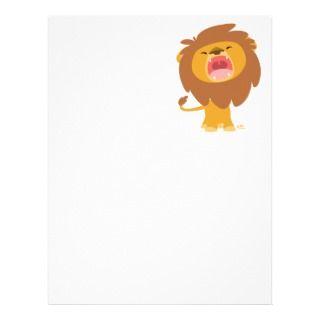 Cute Mighty Roaring Lion Cartoon Letterhead