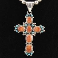 Style Sterling Silver Turquoise Spiny Shell Cross Pendant