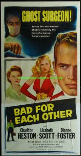 Bad for Each Other Movie Poster Three Sheet 1953 Charlton Heston