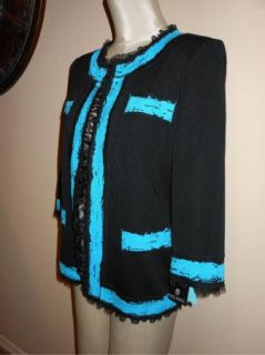 Ming Wang Black Teal Ruffle Trim 3 4 Sleeve Jacket M $239