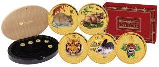 2008 thru 2012 Chinese Lunar Zodiac 5 Coin 1/20 Oz Pure Gold Color Set