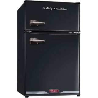 Black Retro Mini Fridge w Freezer 3 2 CU ft Small Compact for Office