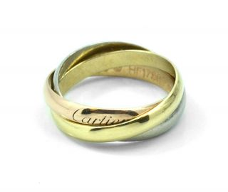 Vintage Cartier 18K Tri Gold Trinity Rose Yellow White Rolling Ring