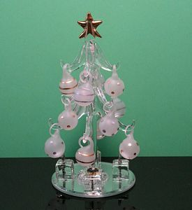 Mini Clear Glass Christmas Tree w Gold Ornaments 155