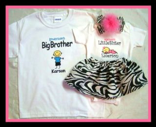 Big Brother Little Sister Tshirt Onesie Tutu Headband Custom Gift Set