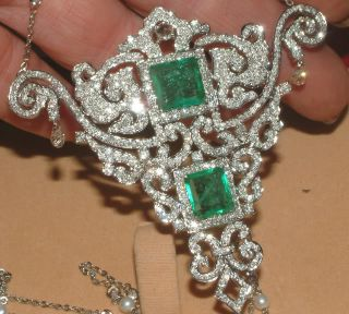 18 Carat White Gold 6 00 Carat Diamond Double Square Emerald Pendant