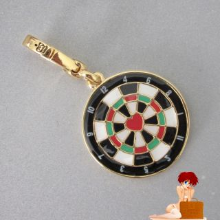 2011 Juicy Couture Dartboard Love Heart Bulls Eye Charm Gold