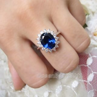 Stunning Womens 10KT White Gold Filled Royal Ring Size 7 8 9