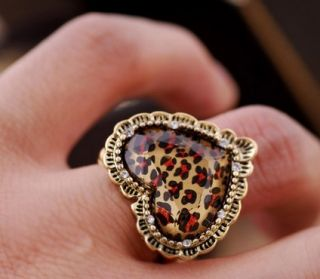 Leopard Heart Shaped Flexible Ring Gold Fashion Jewelry