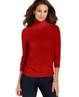 Karen Scott Petite Sweater, Long Sleeve Mock Turtleneck   Womens
