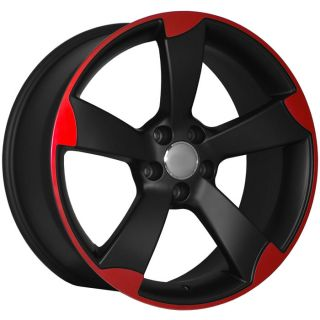 Black Machined Red Wheels Rims Fit Audi RS4 RS6 S4 S5 B6 B7