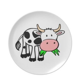 Holstein cow dinner plate
