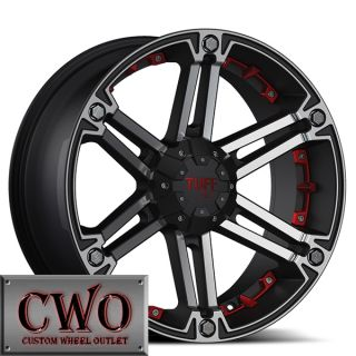 20 Black Tuff T 01 Wheels Rims 6x139 7 6 Lug Tundra Titan Chevy GMC