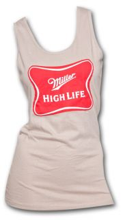 Miller High Life Classic Logo Tan Ladies Graphic Tank Top
