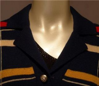 Vintage ACME Sweater Small 100% Virgin Wool Stripe Womens Cardigan S