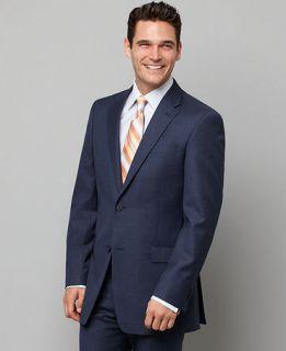 Tommy Hilfiger Jacket, Navy Sharkskin Slim Fit   Mens Suits & Suit