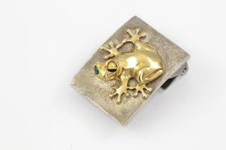 Ruven Perelman 18K Gold Silver Belt Buckle Frog Emerald