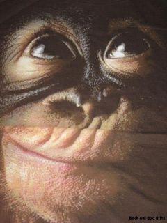 Large Juniors Graphic Tshirt Brown Animal Planet Monkey Shirt New Free