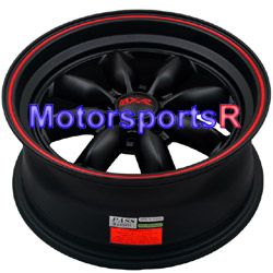 15 15x7 XXR 513 Black Red Stripe Deep Dish Rims Wheels 4x100 02 Honda