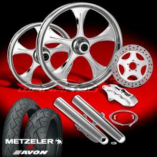 Chrome 21 Wheels, Tires & Single Disk Kit for 2009 13 Harley Touring