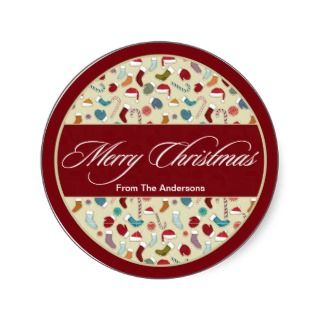 Merry Christmas Hats & Mittens gift tag Sticker