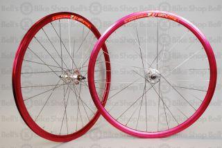 Weinmann Deep V DP18 Track Wheels Red Ano Fixed Gear