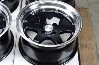 15 4x100 Matte Black Rims Scion XA XB Low Offset Miata G3 Cooper 4 Lug