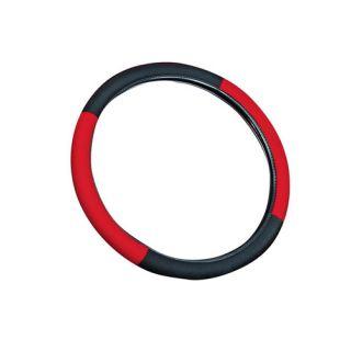 5pc Set 15 inch Red Black Steering Wheel Cover Carpet Beige Tan Floor