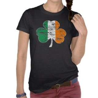 Vintage Distressed Irish Flag Shamrock T shirt