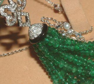 18 carat white gold 6.00 carat diamond & double square emerald pendant