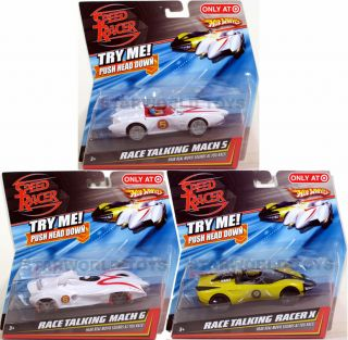 Hot Wheels Speed Racer Race Talking Lot of 3 New Mattel Mach 5 Mach 6