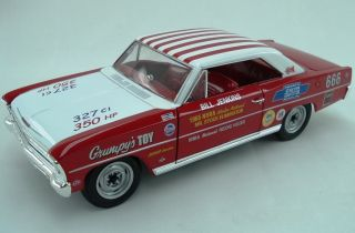18 Auto World Supercar NHRA Record Holder Red 1966 Nova Grumpys Toy