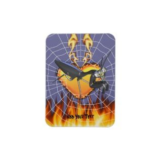 Chromed praying mantis design 1 with fire and web rectangular magnets