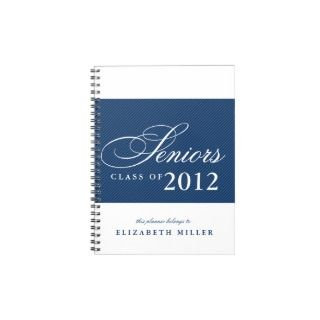 Proud seniors white navy blue stripes class year spiral notebooks