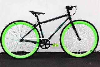 Bike Fixie Bike Road Bicycle 41cm Deep 45mm Rims Green Monster