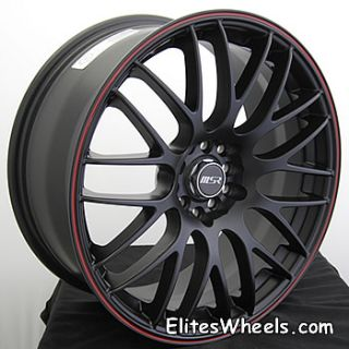 17x7 Black Red Wheel MSR 45 5x112 5x120 Rims 17