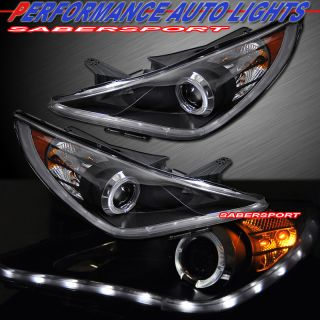 Black Halo Rim Projector Headlights w LED Parking Lights for 2011 2012
