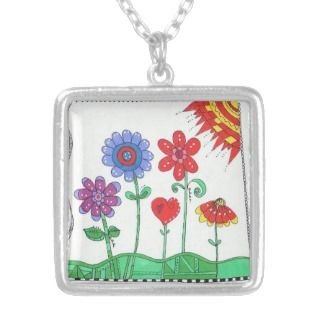 Whimsical Flowers Colorful Hearts Sun Necklace