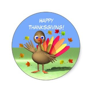 Happy Thanksgiving >> Vintage Thanksgiving Day Turkey Dinner with Family Stickers