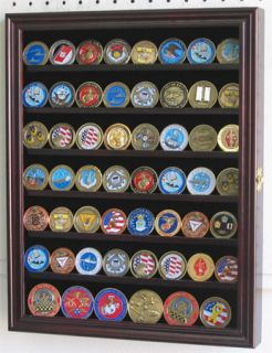 56 Military Challenge Coin Display Case Rack Wall Shadow Box Cabinet