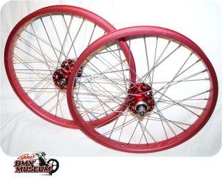 20 Red Rims SR HF Hubs BMX Old School Raleigh Ukai GT Wheels