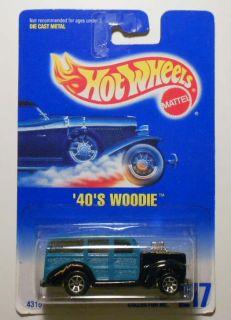 Hot Wheels B w Card 217 40s Woodie 7sp Wheel Variation Mint on Card