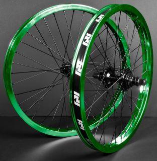 COMPLETE WHEEL SET WHEELS GREEN BLACK FRONT BACK 9 36 PROFILE FIT BMX