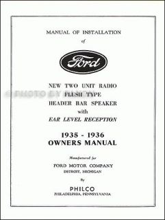 1936 Ford Radio Owners Manual 35 36 Owner and Installation Book