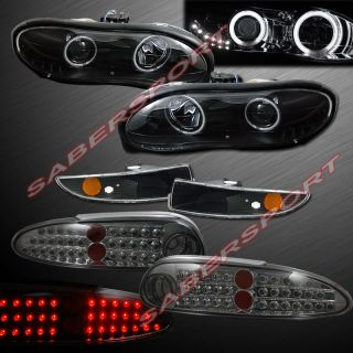 98 02 Chevy Camaro CCFL Halo Projector Headlights Black w LED LED Tail