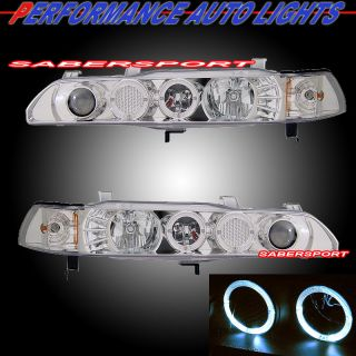 90 93 ACURA INTEGRA 1PC Style Headlamps w/ Dual Halo Rim and built in