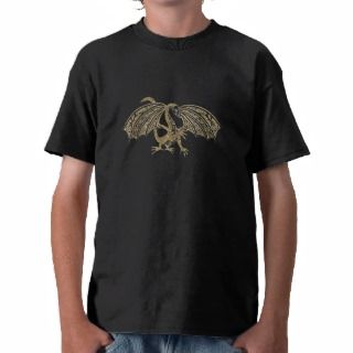 Gold Embossed Dragon Fantasy Tee Shirt