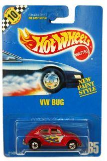 1992 Hot Wheels 65 VW Bug Beetle in Red Blue Card