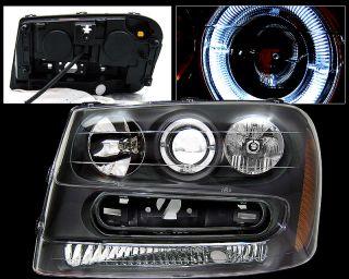 02 03 04 05 Chevy Trailblazer Halo Black Head Lights